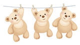 Vector hanging  teddy bears on clothing line with pegs.