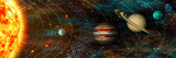 Fototapety Solar System panorama, planets in their orbits, ultrawide