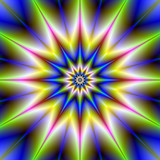 Time Star / A digital abstract fractal image with a twelve pointed star design in blue, green, pink and yellow. - 106494741