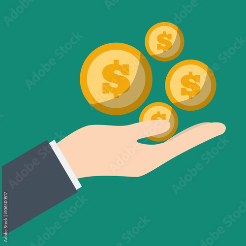 Money savings and coins design, vector illustration