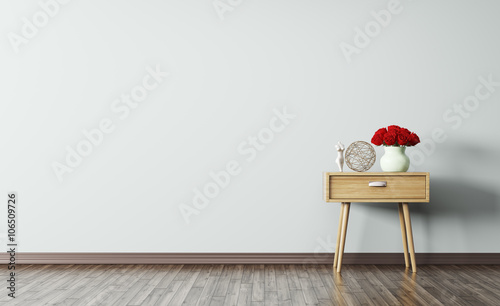 Interior of room with wooden side table 3d render © Vadim Andrushchenko