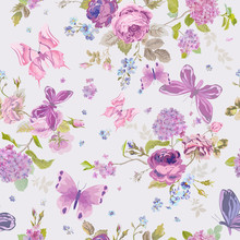 Spring Flowers Background with Butterflies- Seamless Floral Shabby