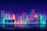 Fototapety Vector night city with neon glow illustration.