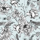 Vintage garden flowers vector seamless pattern