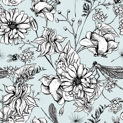Cotton fabric Vintage garden flowers vector seamless pattern