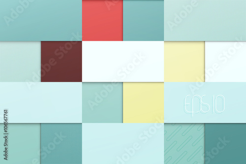 abstract, blue background with square frames. vector geometric, fashion wallpaper template. material design backdrop. origami style, vector presentation banner © metrue