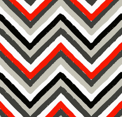 Red and Grey Painted Chevron Pattern