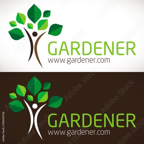 Papiers peints Marron chocolat logo jardinier paysagiste