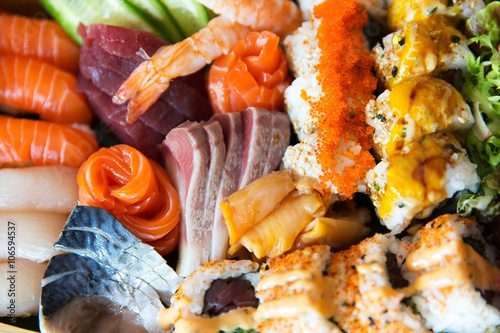 Poster sushi set at restaurant