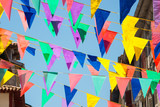Colorful garlands decorating the streets of the city of Bayonne during the summer festival (fetes de Bayonne) in august