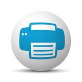 Blue Printer icon on sphere on white background