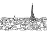 About the Roofs of Paris Handmade Drawing with the Eiffel Tower in background