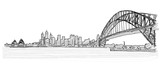 Fototapety On the roofs of Sydney handdrawn sketch. Vector drawing