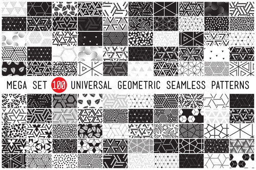 100 Universal different geometric seamless patterns - 106599914