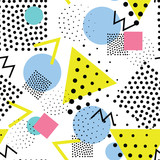 Fototapety Seamless geometric pattern in retro, memphis 80s style