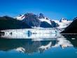 Columbia Glacier is mirrored to the Sea, Prince William Sound, Alaska, USA, America. View cruise .
