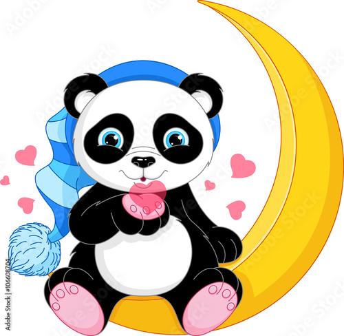 Fototapeta Panda on the Moon