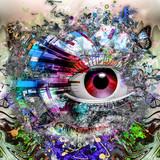 Магический глаз над футуристическим фоном