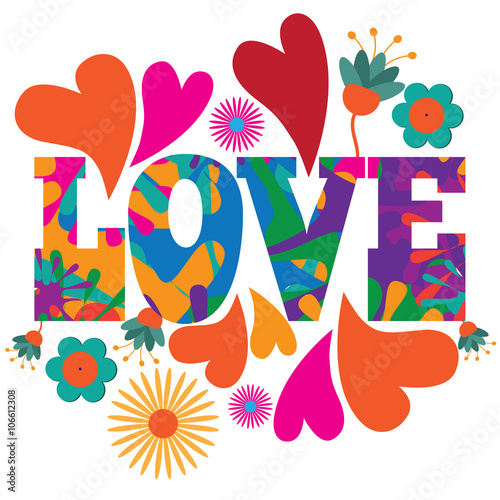 Naklejka Sixties style mod pop art psychedelic colorful Love text design.