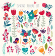 Beautiful vector collection with flowers and leaves. Spring art print with botanical elements  - 106615708