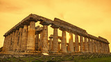 Autumn sunset at Paestum - UNESCO World Heritage Site, with some of the most well-preserved ancient Greek temples in the world, Italy. It