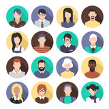 set of colorful icons. people. avatars.