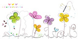 Abstract spring floral greeting card vector background