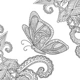 Coloring pages for adults.Henna Mehndi Doodles Abstract Floral Elements with a butterfly.
