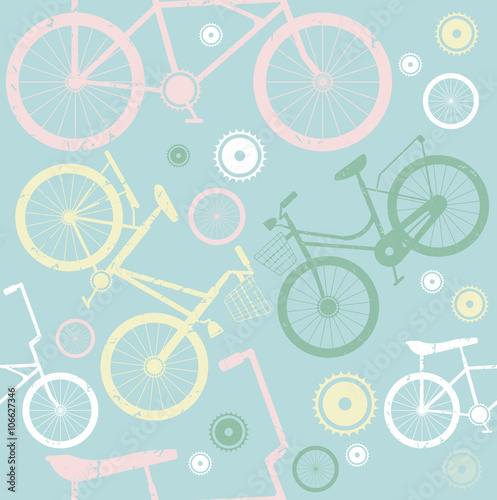 Cotton fabric Seamless pattern with stylish bicycles