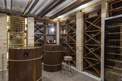 Fototapeta Modern wooden winery or wine cellar