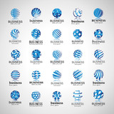Sphere Icons Set-Isolated On Gray Background-Vector Illustration,Graphic Design. Different Logotype Template