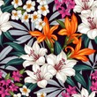 Seamless exotic pattern with tropical leaves and flowers. Blooming jungle. Vector illustration. - 106657921