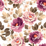 Fototapety Beautiful seamless floral pattern with watercolor effect. Flower vector illustration