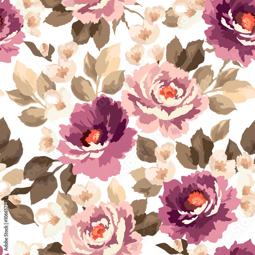 Cotton fabric Beautiful seamless floral pattern with watercolor effect. Flower vector illustration