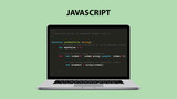 Fototapety javascript programming language illustration with laptop and java script code