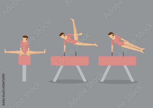 Gymnast Woman on Pommel Horse and Vault Poster