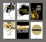 Fototapety A set of brochures with golden hand-drawn design elements. Vector brochure templates, posters, flyers, brand. Golden, black, white backgrounds, patterns, textures and elements. Vector illustration