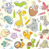 Fototapety seamless pattern with  kids' drawings of animals - vector illustration, eps