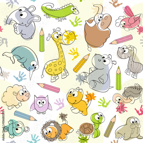 Fototapeta seamless pattern with kids' drawings of animals - vector illustration, eps