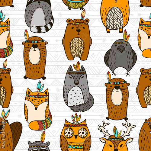 Cotton fabric Seamless pattern with tribal animals - Illustration