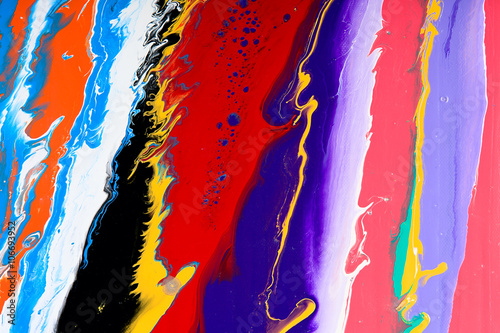 Fototapeta Closeup view of an original strips painting. Hand painted abstract grunge background. Multicolored bright texture with space for text or image. Fragment of artwork, modern art, contemporary art. Mixed