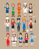 women professions set.police woman doctor nurse chef teacher astronaut firewoman busibesswoman worker farmer gardener mechanic waitress stewardess housemaid delivery manager in uniform