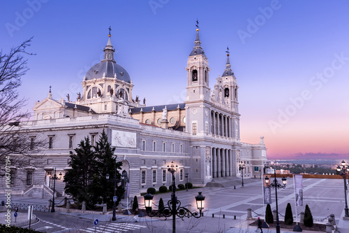 Papiers peints Madrid Almudena Cathedral in Madrid,Spain at dusk