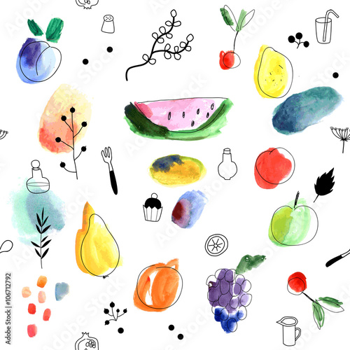 Cotton fabric Seamless pattern with fruits, berries on a white background