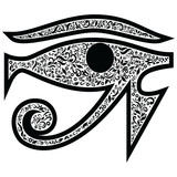 Evil Eye with floral elements in black  and white tattoo style , Middle Eastern Religious  amulet providing  protection against evil forces