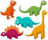 A Variety Of Brightlycolored Happy Cartoon Dinosaurs Wall Sticker