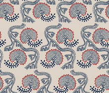 Seamless floral pattern, traditional block printed ornament, handmade Russian motif with navy blue and red flowers on ecru background. Textile print.