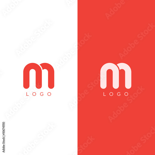 Vector: M Letter Logo design template in red color. Graphic Alphabet ...