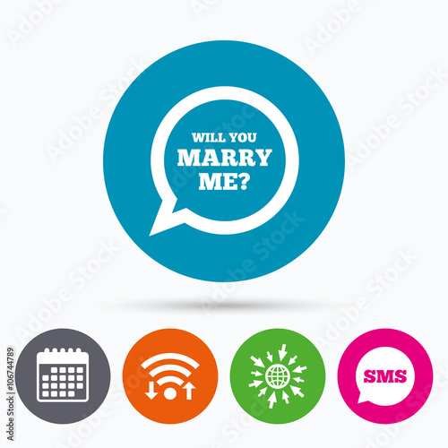 Fotobehang Auto Marry me speech bubble sign icon. Engagement symbol.