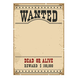 Wanted poster.Western vintage paper on wood wall for design - 106761506